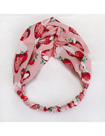 Fashion Pink Strawberry Fruit Printed Fabric Elastic Cross Hair Band