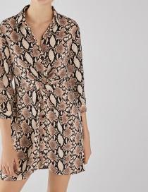 Fashion Snake Printed Knotted Dress
