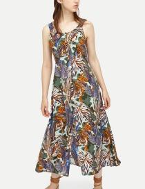 Fashion Color Printed Sling A Dress