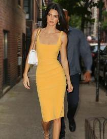 Fashion Yellow Big U-neck Vest Dress
