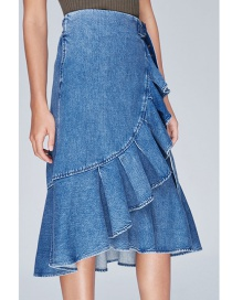 Fashion Blue High-waist Ruffled Irregular Denim Skirt