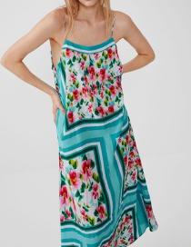 Fashion Color Printed Strap Dress