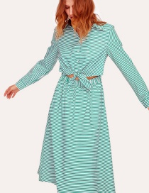 Fashion Green Lace-up Collar Striped A-line Dress
