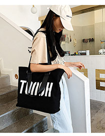 Fashion Black Big Letter Canvas Shoulder Bag