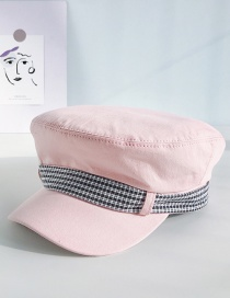 Fashion Plaid With Pink Flat Top Bow Beret