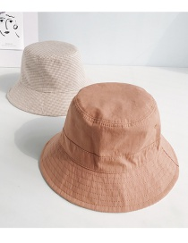 Fashion Small Plaid Solid Color Double-sided Caramel Double-sided Fisherman Hat