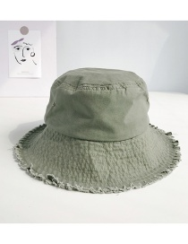 Fashion Solid Color Wide Raw Edge Army Green Frayed Folding Cap