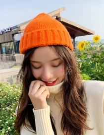 Fashion Thick Side Short Orange Wool Knit Parent-child Melon Cap