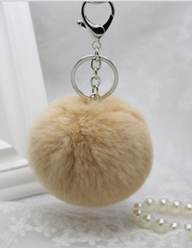 Fashion Khaki Rabbit Fur Ball Fur Keychain
