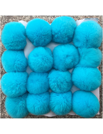 Fashion Lake Blue 8cm Rabbit Hair Ball Pendant Keychain