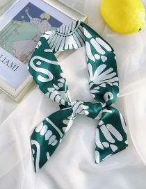 Fashion Artificial Silk Green White Flower Double-sided Printing Strips 90cm