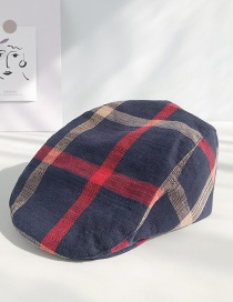 Fashion Plaid Cap: Navy Thin Dark Button Cap