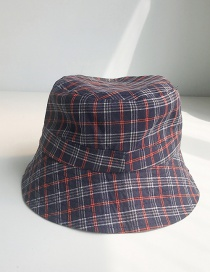 Fashion Small Lattice Navy Plaid Fisherman Hat