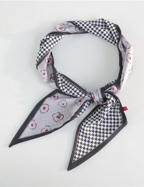 Fashion Houndstooth Flower Gray Houndstooth Printed Silk Scarf
