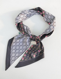 Fashion Flower Vine Black Angled Wide Scarf
