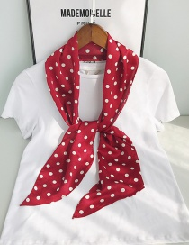 Fashion Angled Wine Red Bottom White Point Long Single-layer Single-sided Printed Small Silk Scarf