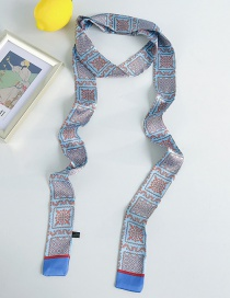 Fashion Square Floral Blue Narrow Strips