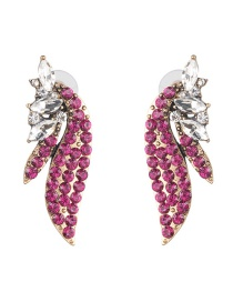 Fashion Rose Red Glass Diamond Angel Wings Earrings