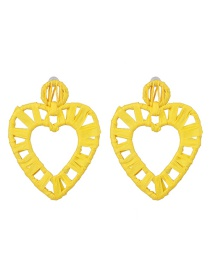 Fashion Yellow Hollow Alloy Lafite Heart-shaped Earrings