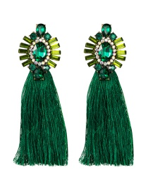 Fashion Green Acrylic-studded Tassel Earrings
