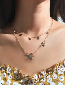 Fashion Gold Small Round Five-pointed Star Diamond Double-layer Necklace