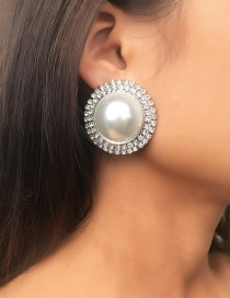 Fashion Silver Oversized Pearl Double Row Earrings