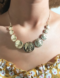 Fashion Gold Alloy Size Coin Single Layer Necklace
