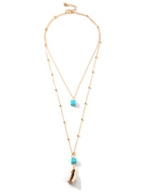 Fashion Gold Turquoise Natural Conch Double Necklace