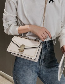 Fashion White Geometric Magnetic Chain Chain Shoulder Messenger Bag