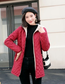 Fashion Red Hooded Warm Lambskin Long-sleeved Cotton Coat