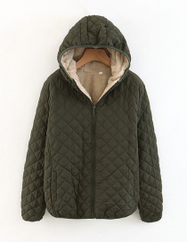 Fashion Armygreen Checked Lamb Hooded Hooded Padded Coat