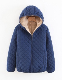 Fashion Navy Checked Lamb Hooded Hooded Padded Coat