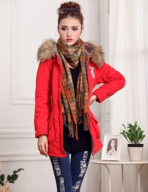 Fashion Red Thick Hooded Long Suede Lamb Wool Coat