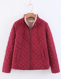 Fashion Red Stand Collar Mesh Short Lightweight Coat
