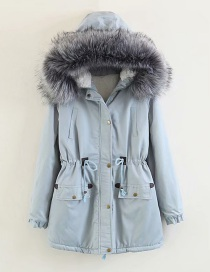Fashion Gray Large Fur Collar Hooded Long Drawstring Cotton Coat