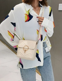 Fashion Creamy-white V-shaped Embroidery Thread Lock Single Shoulder Messenger Bag