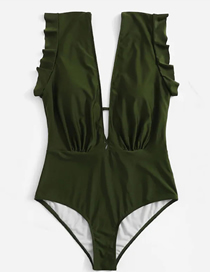Fashion Army Green V-neck One-piece Swimsuit