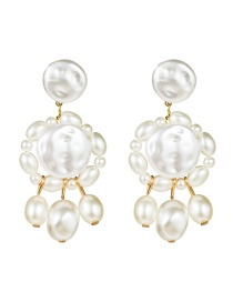 Fashion White Multi-layer Natural Stone Imitation Pearl Earrings