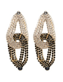 Fashion Gold Acrylic Diamond Drop-shaped Contrast Stitching Earrings