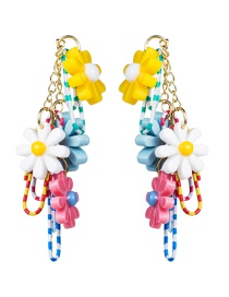 Fashion Color Multi-layer Resin Flower Pin Imitation Pearl Earrings