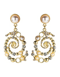 Fashion Gold Alloy Diamond And Pearl Spiral Earrings