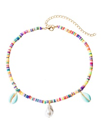 Fashion Color Colorful Soft Ceramic Small Round Shell Natural Stone Necklace