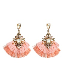 Fashion Pink Acrylic Diamond Multi-layer Tassel Earrings