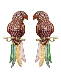 Fashion Red Acrylic Diamond Long-tailed Parrot Earrings