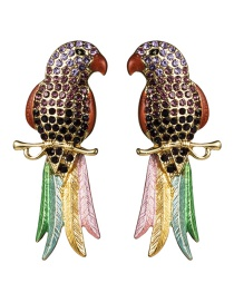 Fashion Purple Acrylic Diamond Long-tailed Parrot Earrings