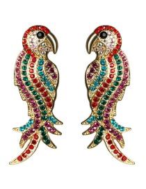 Fashion Red Parrot Acrylic Diamond Earrings