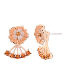 Fashion Short Yellow S925 Sterling Silver Glazed Flower Tassel Earrings
