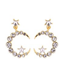 Fashion Gold S925 Sterling Silver With Diamond Star Earrings
