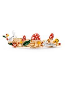 Fashion Red Hair Clip Rabbit Hairpin Drop Glaze Mushroom Brooch