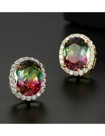Fashion Color Oval Copper Inlay Zircon Earrings